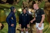Paul O'Connell with Michael Hooper and Glen Jackson during the coin toss
