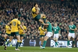 Rob Kearney with Israel Folau flying high
