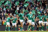 Ian Madigan congratulates Dave Kilcoyne on scoring a try (Ireland v Georgia, Guinness Series - 16/11/2014)