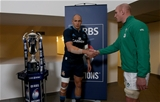Captains Paul O'Connell and Sergio Parisse shake hands before the coin toss beside the RBS 6 Nations trophy Credit: ©INPHO/Dan Sheridan