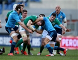 Ireland flanker Peter O'Mahony is tackled by Italy's Edoardo Gori and Joshua Furno Credit: ©INPHO/Dan Sheridan
