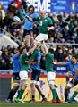 Captain Paul O'Connell secures lineout possession for Ireland, under pressure from Italy's Josh Furno Credit: ©INPHO/Matteo Ciambelli