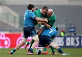 Ireland locks Devin Toner and Paul O'Connell are tackled by Italy's Francesco Minto and Josh Furno Credit: ©INPHO/Dan Sheridan