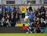 Tommy Bowe gets his fingertips to a cross-field kick by Jonathan Sexton during the first half Credit: ©INPHO/Ryan Byrne