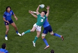 Monaghan man Tommy Bowe reaches for a high ball at the Aviva Stadium Credit: ©INPHO/Billy Stickland