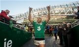 Winger Simon Zebo, who had one of his best all-round performances in an Ireland jersey, acknowledges the support of the fans Credit: ©INPHO/James Crombie