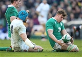 Ireland's Jordi Murphy, who started at number 8, picks up possession ahead of England flanker James Haskell Credit: ©INPHO/Billy Stickland