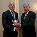 Ireland captain Paul O'Connell receives the Millennium trophy from IRFU President Louis Magee Credit: ©INPHO/Dan Sheridan