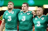 Jamie Heaslip, Mike Ross and Richardt Strauss during the anthems Credit: ©INPHO/Dan Sheridan