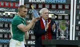 Keith Earls, one of Ireland's first half try scorers, picks up his man-of-the-match award Credit: ©INPHO/Billy Stickland