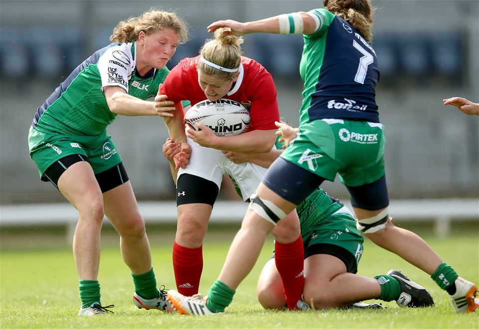 Munster centre Nicola Scully is closed down by Connacht's Mairead Coyne, Emma Clery and Grainne Egan