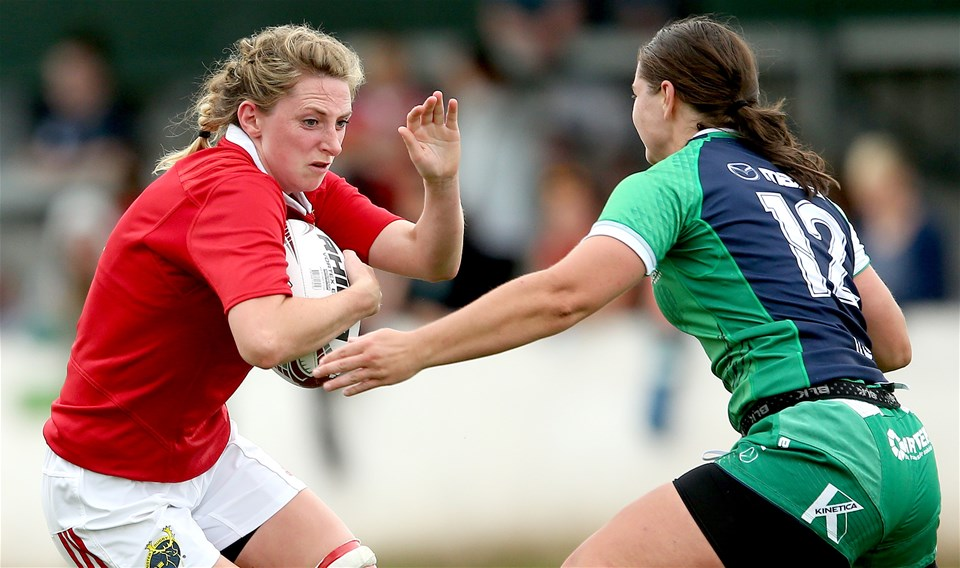 Munster's former Ireland flanker Siobhan Flemming is tackled by Emma Clery, who captained Connacht from inside centre