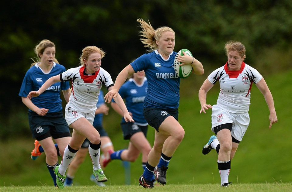 Cliodhna Moloney of Railway Union leads an attack for Leinster during their 38-0 victory away to Ulster
