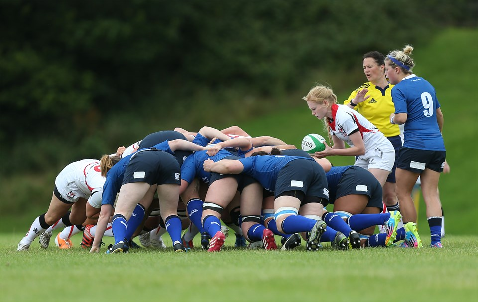 Ulster's young scrum half Kathryn Dane waits to feed the ball into a scrum