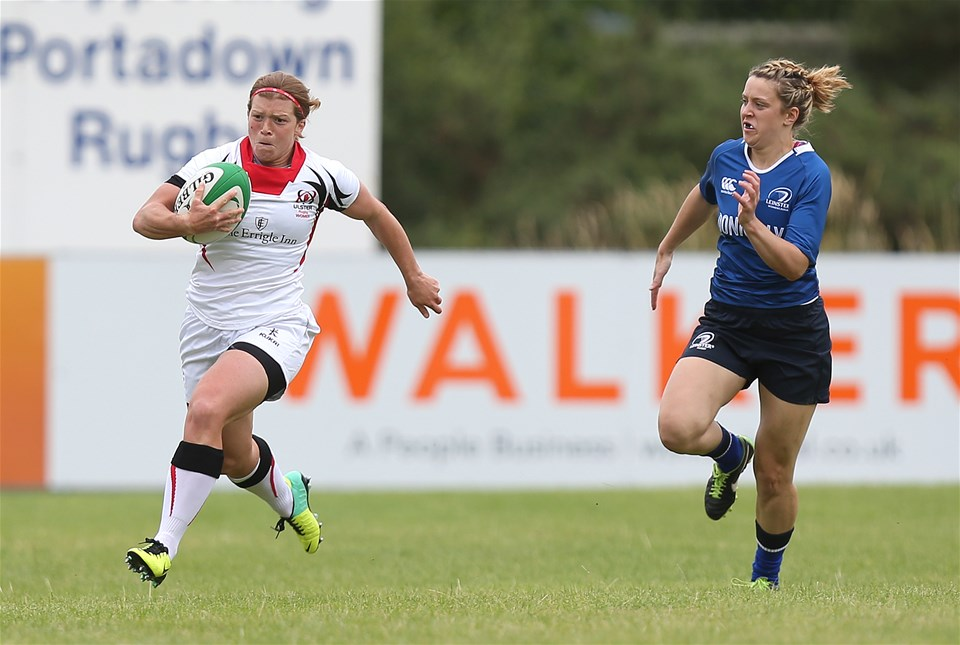 Ulster's Ireland-capped winger Amy Davis powers forward during their Interpro clash with Leinster