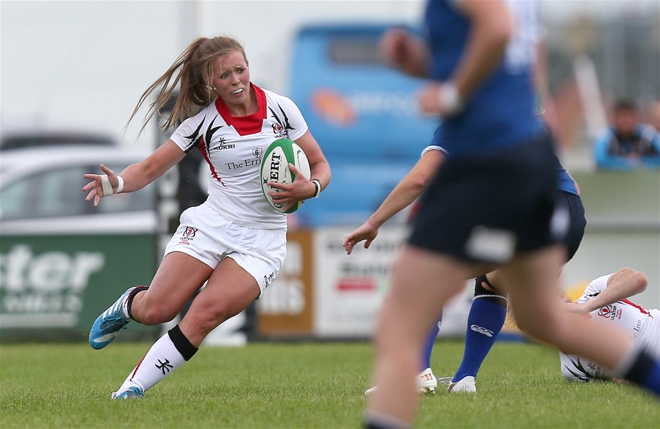 Queen's University centre Claire McLaughlin spearheads an attack for Ulster