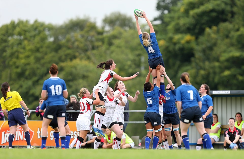 Second row Ciara Cooney rises highest to claim a lineout ball for Leinster