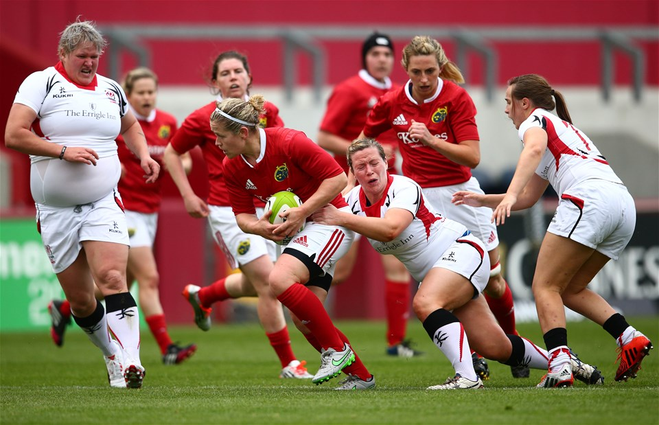 Munster centre Nicola Scully is tackled by Noreen Nethercott, who started in the Ulster back row