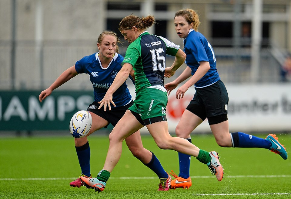 Mairead Coyne, Connacht's try scorer on the day, puts boot to ball
