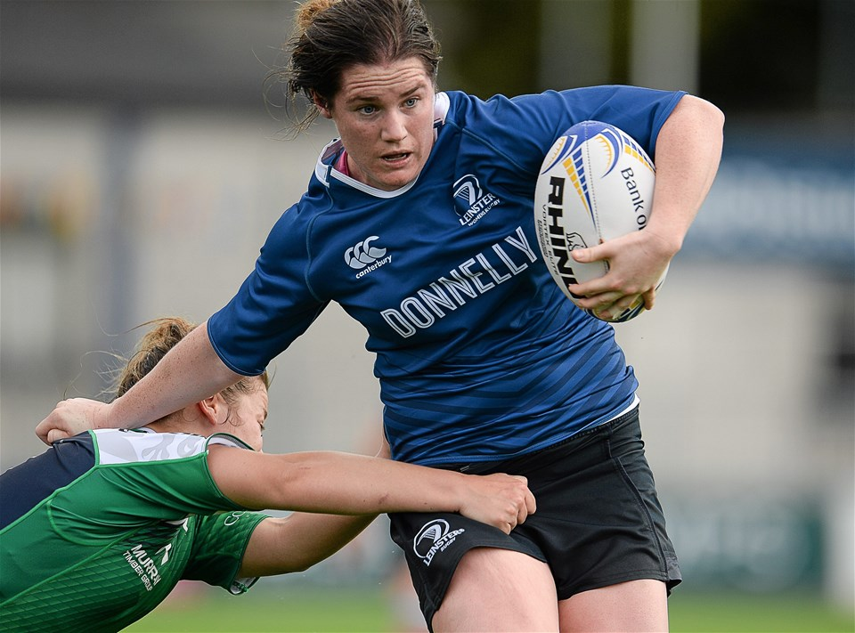 Leinster flanker Jennie Finlay tries to hand off Connacht's Jill Draper