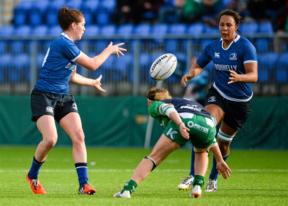 Leinster out-half Nora Stapleton combines with fellow Ireland international Sophie Spence