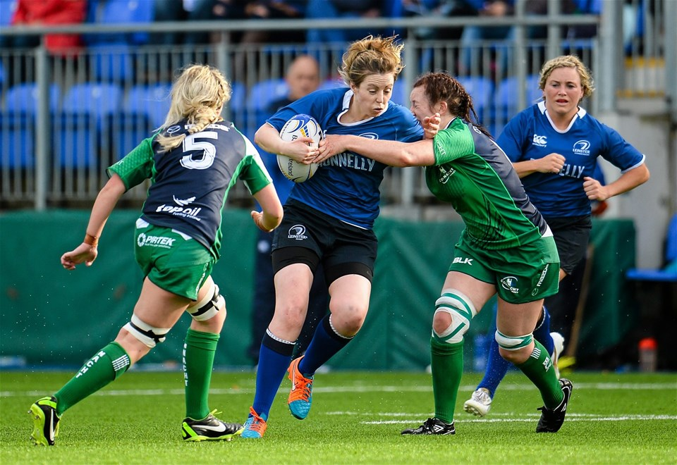 Centre Aine Donnelly, who scored Leinster's third try, is tackled by Connacht's Carol Staunton