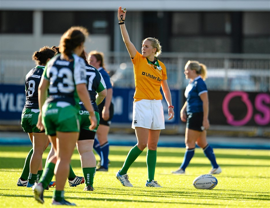 Former Munster and Ireland number 8 Joy Neville was in charge of the whistle at Donnybrook