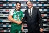 Connacht full-back Tiernan O'Halloran was presented with his man-of-the-match medal by Gary Tierney from Diageo Credit: ©INPHO/James Crombie