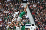 Giant second row Devin Toner stretches to win a lineout ball against England Credit: ©INPHO/Billy Stickland