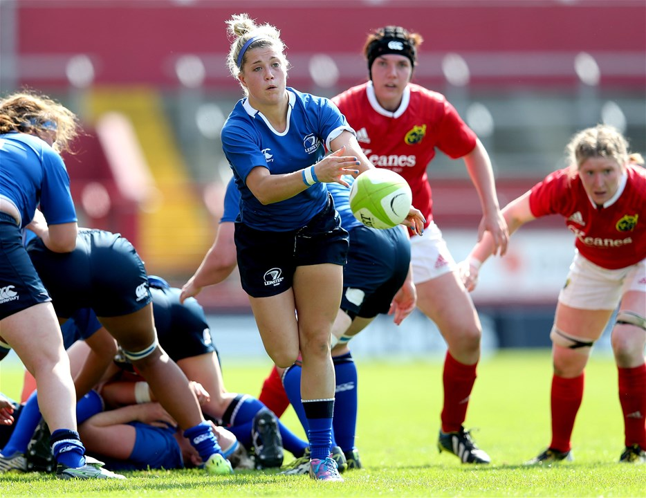 Leinster scrum half Ailsa Hughes releases the ball away from a ruck