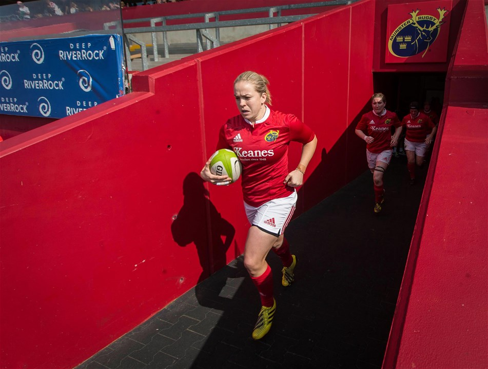 Ireland captain Niamh Briggs leads out the Munster team for their final round clash with Leinster