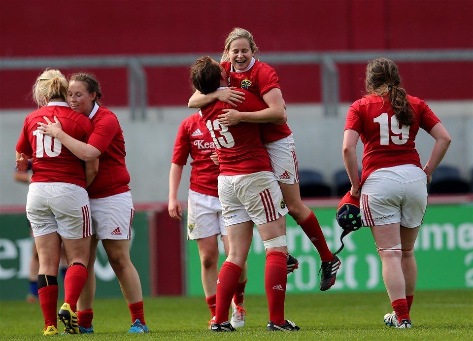 Munster backs Laura O'Mahony and Niamh Kavanagh celebrate at the final whistle
