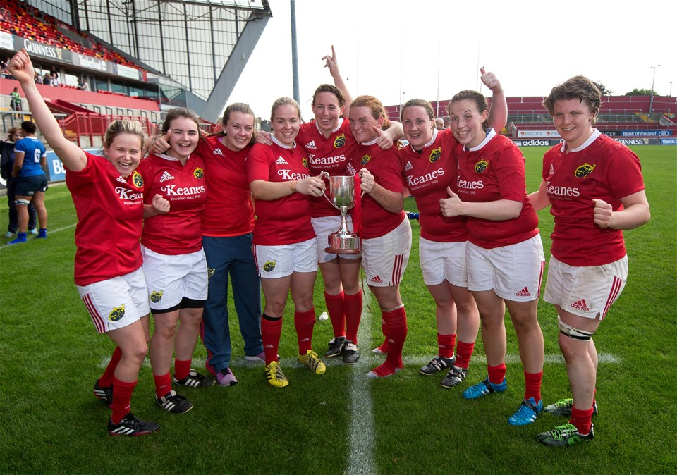It is celebration time for Niamh Briggs, Niamh Kavanagh and the rest of the Munster players