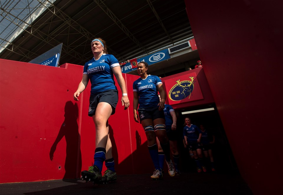 Ireland prop Ailis Egan leads out her Leinster team for the meeting of the table-topping sides