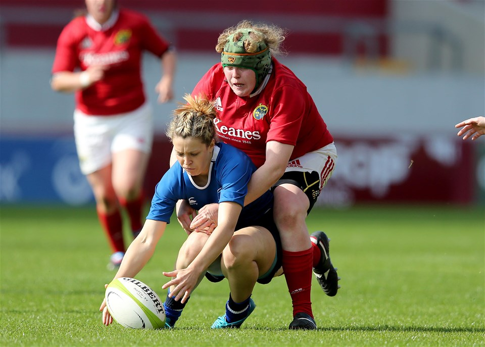 Leah Lyons, the Munster tighthead prop, tackles Amy Cotter as the Leinster winger tries to gather possession