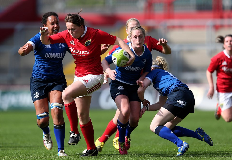 Munster centre Niamh Kavanagh, who was capped by Ireland on the wing, makes a break