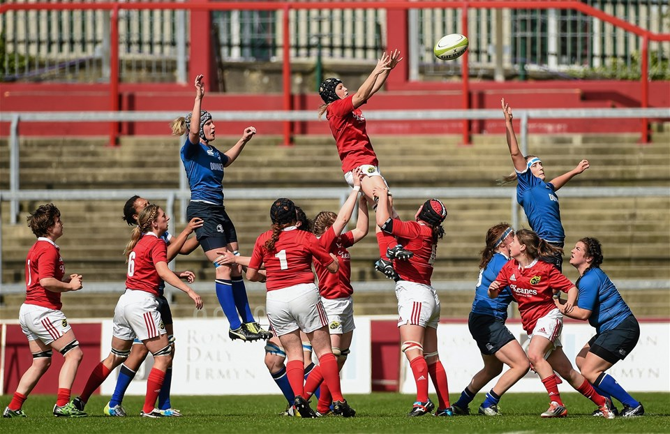 A view of a Munster lineout during the Interpro title decider at sunny Thomond Park