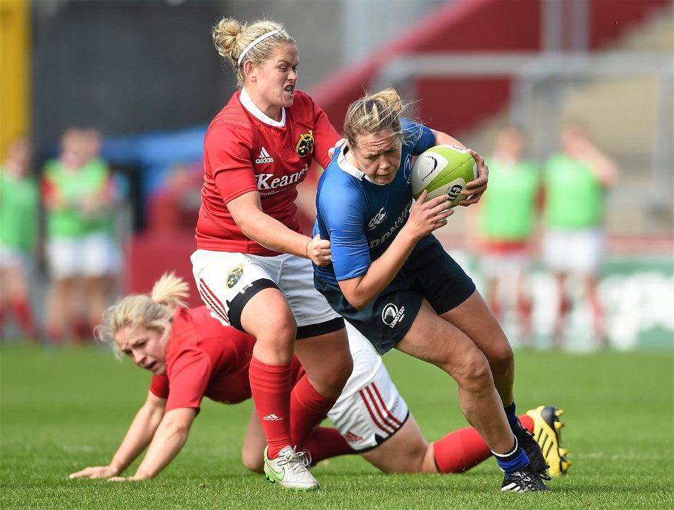 Leinster full-back Jeamie Deacon is tackled by Munster's Nicola Scully