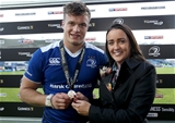 Flanker Josh van der Flier is presented with his GUINNESS PRO12 man-of-the-match medal by Diageo's Gemma Bell Credit: ©INPHO/Dan Sheridan