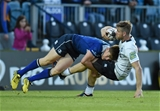 Leinster Academy member Garry Ringrose produces a textbook tackle on Cardiff centre Gavin Evans Credit: ©SPORTSFILE/Stephen McCarthy
