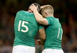 Rob Kearney celebrates scoring Ireland's sixth try with Keith Earls, the man who set up the score Credit: ©INPHO/Dan Sheridan