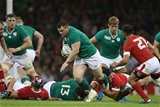Cian Healy, making a welcome return in the green jersey, powers forward with ball in hand Credit: ©INPHO/Billy Stickland
