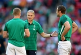 Joe Schmidt has a word with his two starting wingers, Keith Earls and Tommy Bowe Credit: ©INPHO/Dan Sheridan