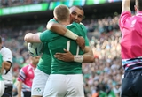 Keith Earls celebrates his first try with Simon Zebo, who provided a long and accurate scoring pass Credit: ©INPHO/Dan Sheridan