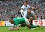 Keith Earls' 43rd-minute try saw him equal Brian O'Driscoll's Irish RWC try record (seven tries). Earls scored five at the 2011 tournament in New Zealand Credit: ©INPHO/Billy Stickland