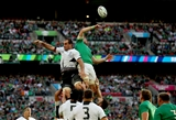 Ireland captain Jamie Heaslip and his opposite number Daniel Carpo compete for lineout possession Credit: ©INPHO/James Crombie