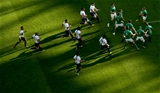 Ireland winger Keith Earls gathers the kick-off from Romania Credit: ©INPHO/James Crombie