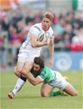 Treviso's Ludovico Nitoglia gets a tackle in on man of the moment, Ulster legend Andrew Trimble Credit: ©INPHO/Presseye/Darren Kidd