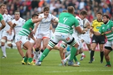 Ulster's ever-threatening winger Craig Gilroy is tackled by Treviso's Duncan Naude and Matteo Zanusso Credit: ©INPHO/Presseye/Darren Kidd