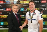 Ulster hooker Rob Herring is presented with his PRO12 man-of-the-match medal by David Callaghan of Diageo Credit: ©INPHO/Presseye/Darren Kidd